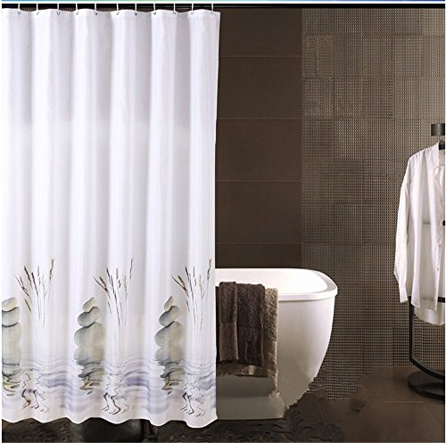 72' Pond (Dodou Artistic Stone and Bulrush Pond Bathroom Curtain Waterproof/ Mouldproof/anti Bacteria/ Shower Curtain 72x72 Inch Shower Curtain)