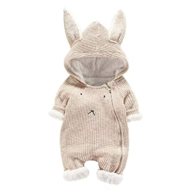 Matoen Baby Boy Girl Cartoon Hooded 3D Ear Romper Plus Warm Jumpsuit Clothes (0-