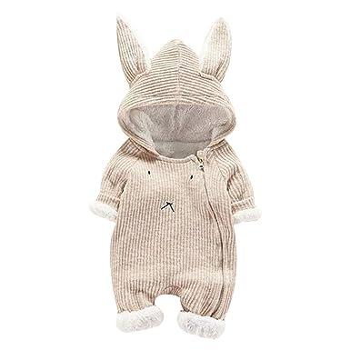 Matoen Baby Boy Girl Cartoon Hooded 3D Ear Romper Plus Warm Jumpsuit Clothes (0-