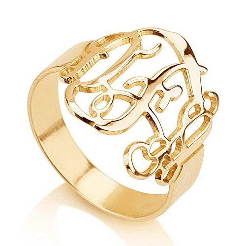 Monogram Ring -Gold over Silver Monogram Ring-Initial Ring-Name Ring (6) (Gold Initial Ring compare prices)