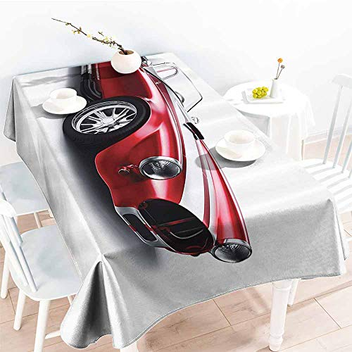 Homrkey Washable Table Cloth Cars Old Fashioned Vintage Coupe Car Automobile Illustration with Digital Smooth Color Effects Red Party W50 - Coupe Provincial