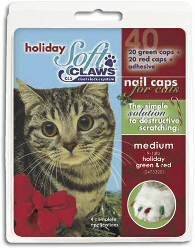Soft Claws for Cats, Size Medium, Color Holiday (Red & Gr...