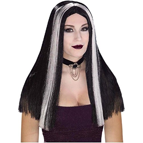 [Black White Streaked Wig Adult Witch Gothic Long Halloween Costume Accessory] (Black And White Streaked Wig)