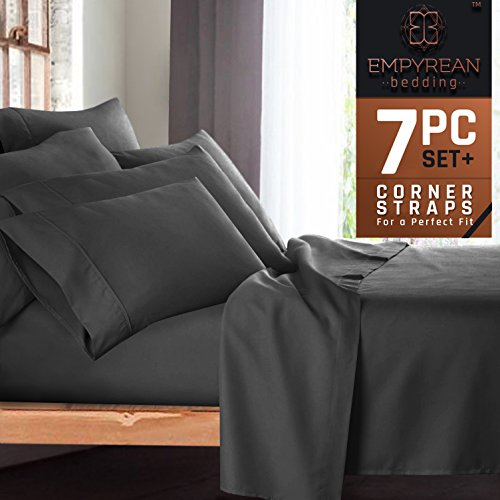 Premium 7-Piece Bed Sheet & Pillow Case Set – Luxurious & Soft Split King Size Linen, Extra Deep Pocket Super Fit Fitted Gray Sheets, Bedroom Essentials, BONUS 2 Pillowcases (Bed Set Sheet)