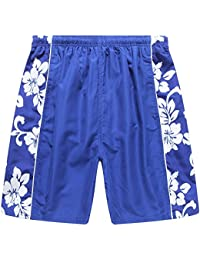 Hawaii Hangover Men's Swim Trunk in Royal Blue with Side Floral Hibiscus