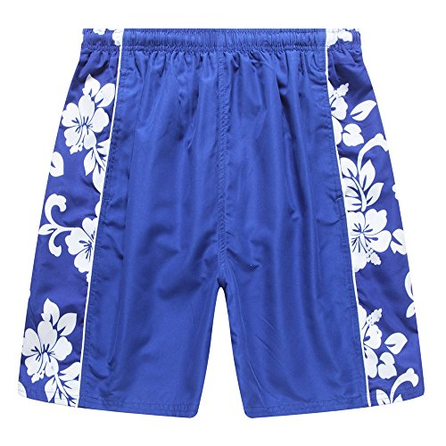 - Hawaii Hangover Men's Swim Trunk In Royal Blue With Side Floral Hibiscus L