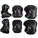 Kids Adult 6PCS Sports Protective Gear Set Adjustable Reflective Cycling Roller Skating Knee Elbow Wrist Pads Safety Support Guards Pad Set Equipment for Skateboard, BMX Bike, Inline Skating, Scooter