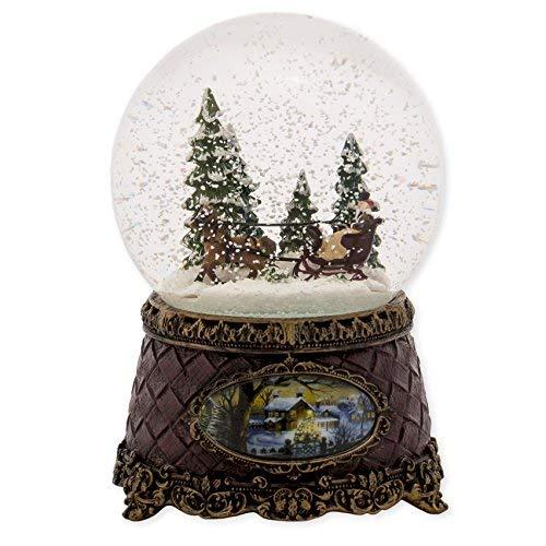 (Sleigh Scene Musical Christmas Table Top Glitterdome Plays Tune Jingle)