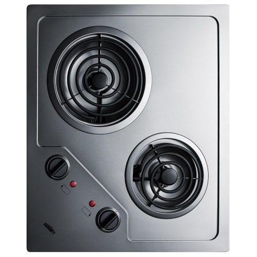 Summit CR2B122 Electric Cooktop, Stainless Steel (Summit Refrigerator Electric)