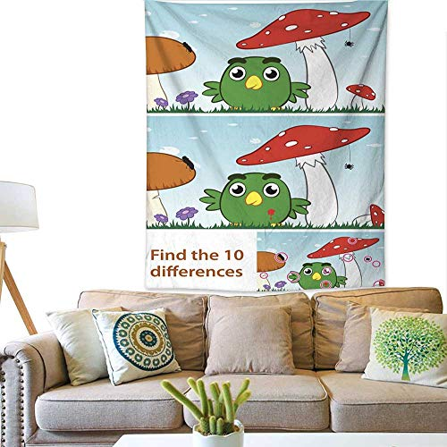 Price comparison product image BlountDecor Art Tapestry Kids spot The Difference Puzzle with a Little Bird 70W x 93L INCH