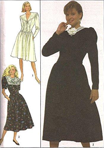 Simplicity vintage 1980s sewing pattern 8907 puffy sleeve dress - Size (Pilgrim Collar Pattern)