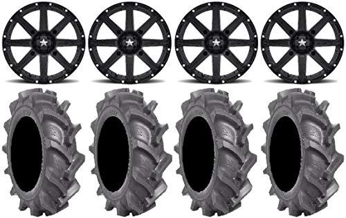 "Bundle - 9 Items: MSA Black Clutch 14"" ATV Wheels 28"" BKT AT 171 Tires [4x110 Bolt Pattern 10mmx1.25 Lug Kit]"