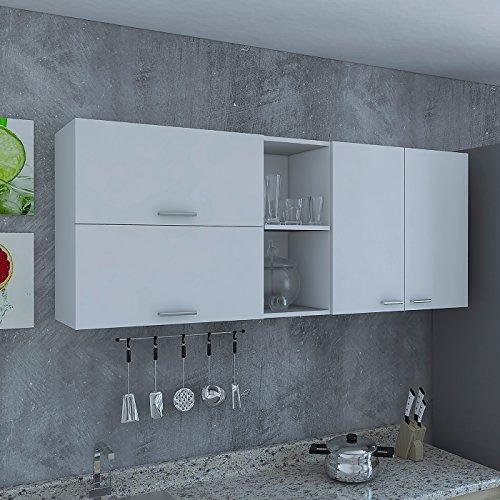 RTA Design Oprah Collection Wall Cabinet 3 Doors, Inside Shelves, 2 Outside Shelves (White, 150 cm, 1 Unit). by Furnituremobelcom