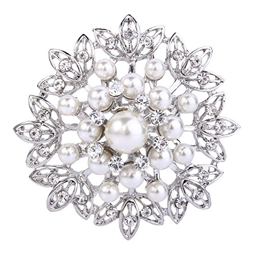 - EVER FAITH Women's Crystal Cream Simulated Pearl Elegant Flower Leaf Corsage Brooch Clear Silver-Tone