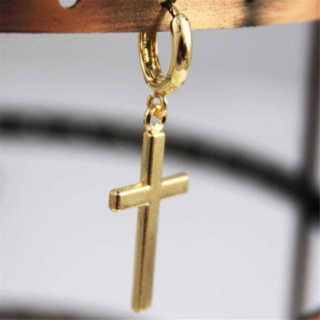 Fashion Steel Cross Tragus Upper Ear Cartilage Earring Piercing for Women Girls Gold Wenini 1 Pair Cross Earring