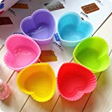 Silicone Baking Cups - 12pcs Muffin Liners in Storage Container Cupcake (heart, 12)