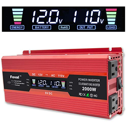 Cantonape 1000W/2000W(Peak) Car Power Inverter DC 12V to 110V AC Converter with LCD Display Dual AC Outlets and Dual USB Car Charger for Car Home Laptop Truck ()