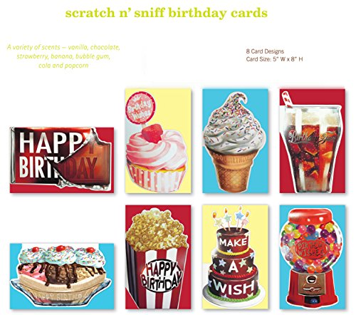 Assorted Handmade Scratch n Sniff Embellished Scented Birthday Cards Box Set, 8 Pack Birthday Card Assortment Including: Vanilla, Chocolate, Strawberry, Banana, Bubble Gum, Cola and Popcorn. for Him, Her, Mom, Dad, Kids, Girls, Boys