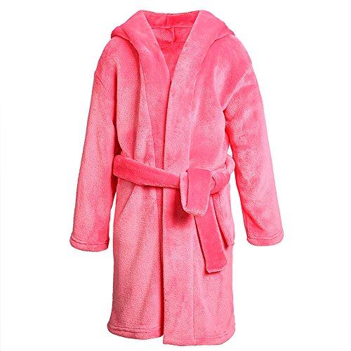 Dolcevida Kids Plush Bath Robe for Girls Solid Hooded Soft Fleece Bathrobe Nightgown (Pink, 11-12)