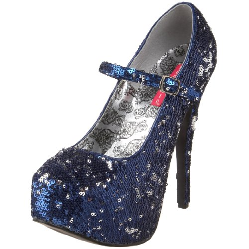 Women's by Blue 07Sq Sequins Silver Bordello Teeze Pleaser Pump 76FYqEd