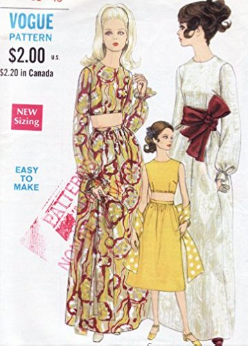 Vogue 7430 Vintage Misses Midriff Top and Skirt Evening Wear/Loungewear and Sash Sewing Pattern, Check listings for - Wear Evening Vogue