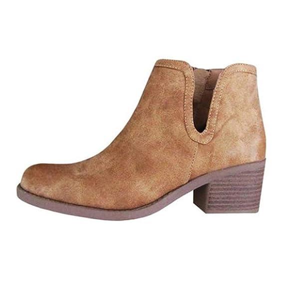 Zapatos de Mujer, ASHOP Casual Planos Loafers Mocasines de Puntera otoño Invierno Botas de Nieve con Cremallera de Cuero de para Mujer: Amazon.es: Ropa y ...
