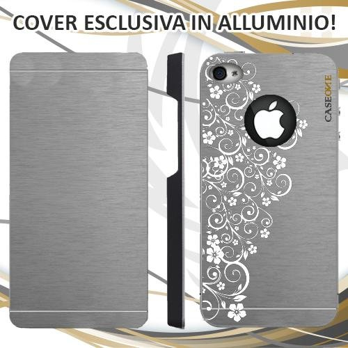 CUSTODIA COVER CASE RICAMO FLOREALE PER IPHONE 4S ALLUMINIO TRASPARENTE