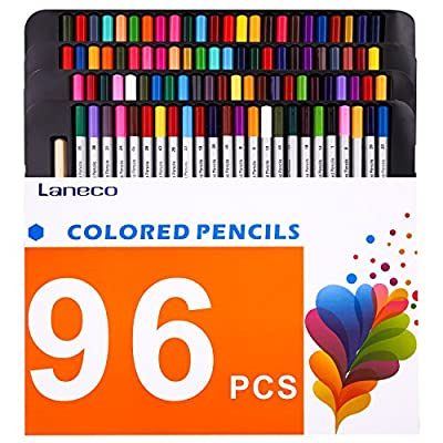 96 Colored Pencils ( 2 Pack of 48 unique colors ) with Pencil extender holder, Laneco Soft Core Art Assorted Colored Drawing Pencils set In Cardboard Box for Adult Coloring Books, Artists, Kids