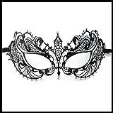 Luxury Mask Women's Laser Cut Metal Venetian Pretty Masquerade Mask, Black/Clear Stones, One Size