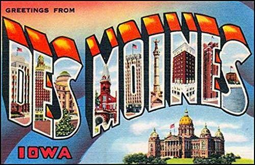 MAGNET 3x5 inch Vintage Greetings from DES MOINES Sticker (Old Postcard Logo Iowa ia) Magnetic vinyl bumper sticker sticks to any metal fridge, car, signs