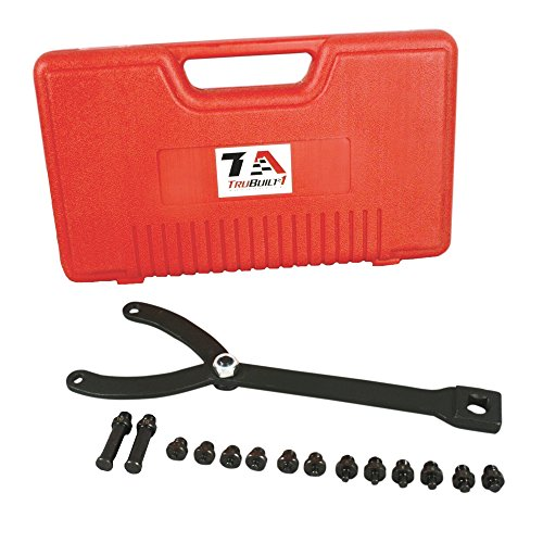 Crankshaft Holder (Universal Pulley and Fan Clutch Holder With Seven (7) Pairs of Pins and Adjustable Wrench for Most Sizes of Camshafts, Crankshafts and Retaining Bolts T1A-LSBH6300)