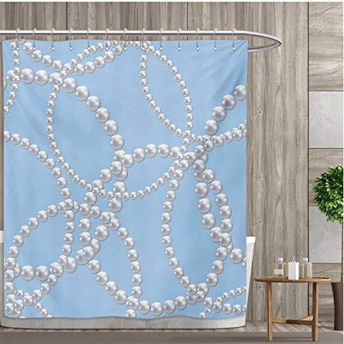 smallfly Pearls Shower Curtains Fabric Pearl Necklace Bracelet Classic Women Bridal Groom Shower Theme Feminine Art Bathroom Accessories 36