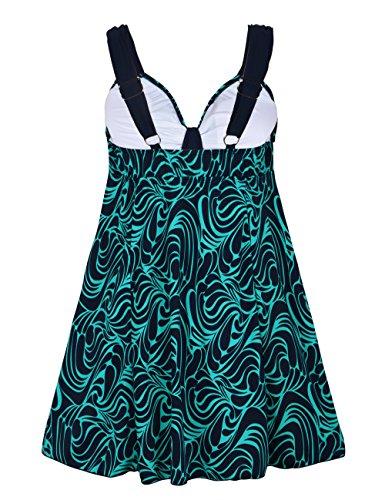 Costumi Tankinis Verde Donna Pezzi Taglia Floreale Con Da Bagno Stampato Rocorose Retro Pantaloncini Grossa Due gZqgz