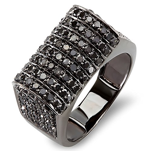 2.50 Carat (ctw) 10K Black Rhodium Plated White Gold Round Black Diamond Mens Pinky Ring (Size 8.5) (Diamond Ring Dad Round Mens)