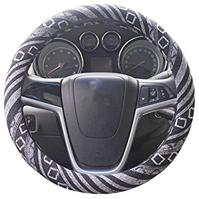 Istn Small Ethnic Style Coarse Flax Cloth Automotive Steering Wheel Cover Anti Slip and Sweat Absorption Auto Car Wrap Cover (14''-14.25, G): Automotive