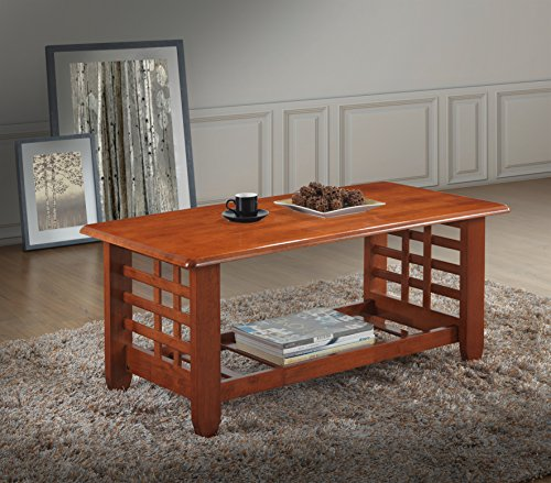 Baxton Studio Lamon Modern Classic Mission Style Cherry Finished Wood Living Room Occasional Coffee Table