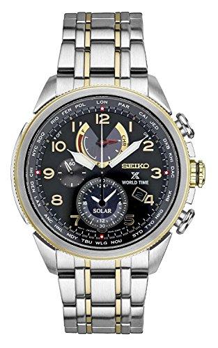 - Seiko Men's Prospex World Time Solar Silvertone with Black Dial