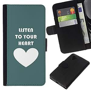 KLONGSHOP // Tirón de la caja Cartera de cuero con ranuras para tarjetas - Cita del amor de motivación Teal blanco - LG Nexus 5 D820 D821 //