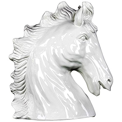 Urban Trends 46727-UT Ceramic Horse Head Gloss, White