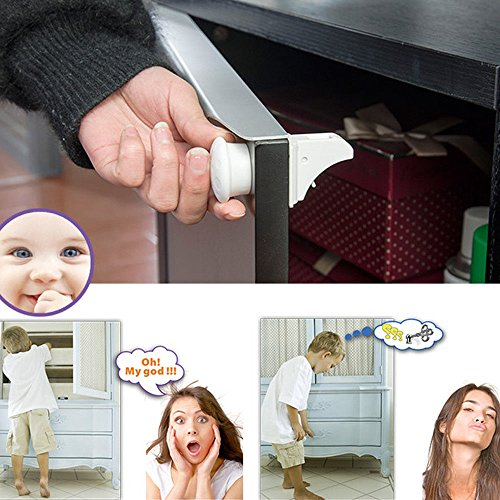 4pcs Baby Safety Magnetic Cabinet Locks with Key (White) - 1