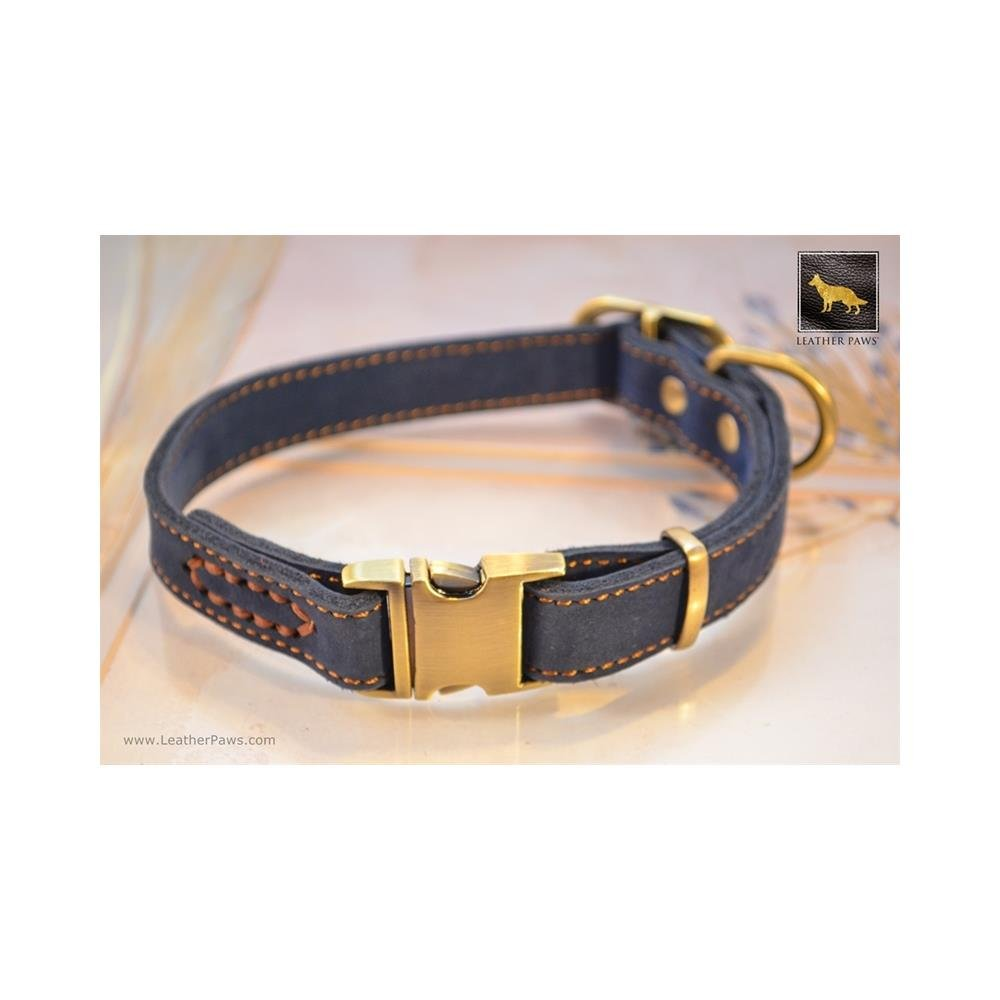 Large Leather Paws Quick Release bluee Suede Leather Collar LP-C-047-B-S