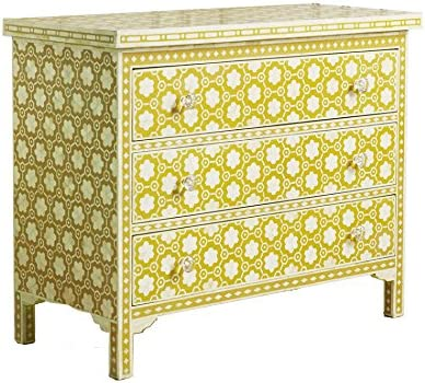 Luxury Handicrafts Bone Chest of Drawer in Yellow