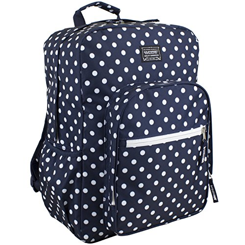Eastsport Fashion Lifestyle Backpack with Oversized Main Compartment for School or Travel/Hiking, Navy/White Polka Dots (17 Inch Laptop Bag Polka Dot)