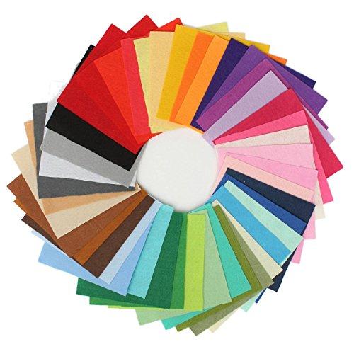 KING DO WAY 42 Farben Filz Stoff Polyester handmade Filzstoff Bastelfilz DIY Stoff Sewing Multicolore 15x15cm