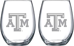 Texas A & M Aggies Etched Satin Frost Logo Wine or Beverage Glass Set of 2