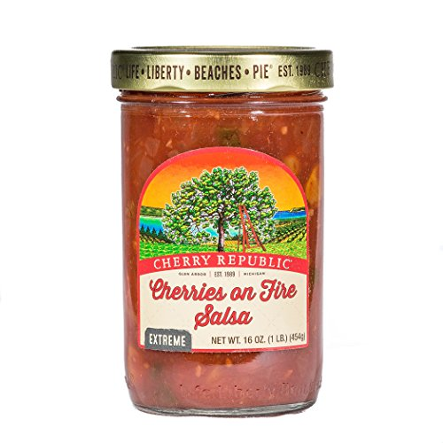 Cherry Republic Cherries On Fire Hot Salsa - High Heat Salsa Mix with Authentic Michigan Cherries - Hot & Spicy Fruit Salsa - Works Great as a Recipe Ingredient & Dip - 16 Ounces