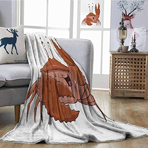Decorative Throw Blanket Crabs Friendly Chela Arthropod Waving His Nipper Greeting with a Big Smile Funny Creature Brown Coral Soft Blanket Microfiber W40 xL60]()