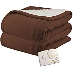 Pure Warmth Microplush Sherpa Twin Heated Electric Blanket Chocolate