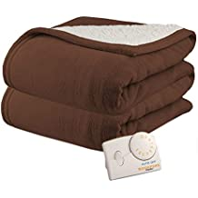 Biddeford 2061-9032138-711 MicroPlush Sherpa Electric Heated Blanket Full Chocolate