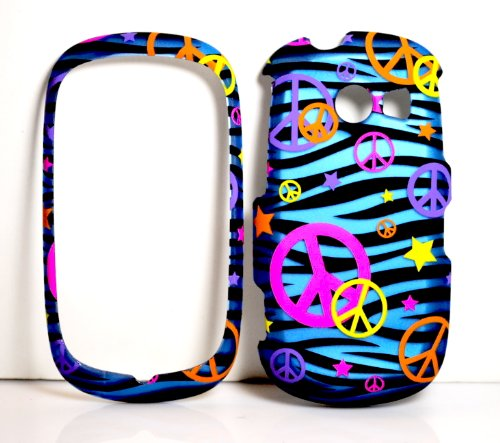 A927 Colorful Peace Sign on Blue Zebra Strip Rubberized Snap on Hard Protective Cover Case for for Samsung Flight II A927